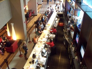 Overview of the lobby bar, mid-day.