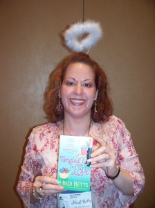 Author Heidi Betts shows her latest title.