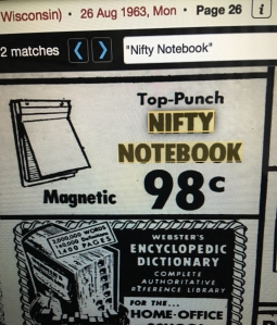 Vintage ad for Nifty Notebook